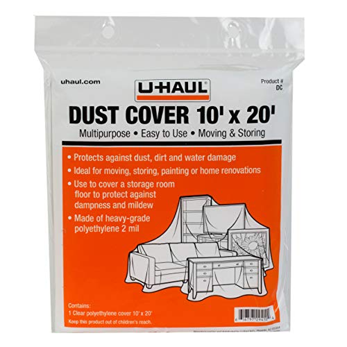 U-Haul Moving and Storage Dust Cover - Plastic Water Resistant Drop Cloth for Furniture and Flooring Protection - 10' x 20'