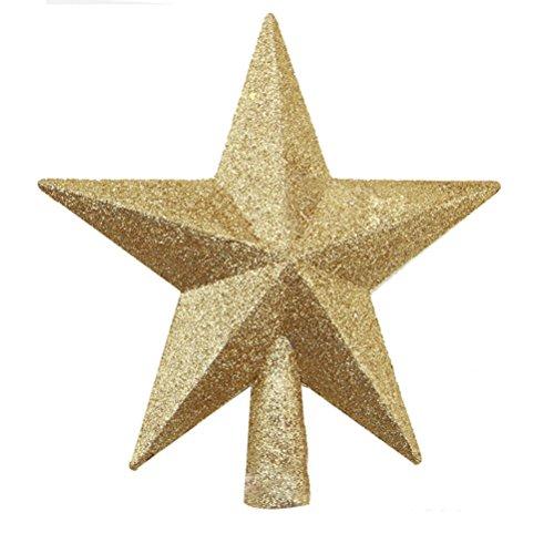 Tinksky Decorazioni natalizie Albero di Natale Top Stella a cinque punte Stella Ciondolo Ornamento Natale regalo di compleanno per gli amici (Golden)