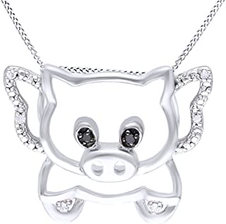 Cyber Monday Deals Black & White Natural Diamond Flying Pig Pendant Necklace 925 Sterling Silver (0.1 Cttw)
