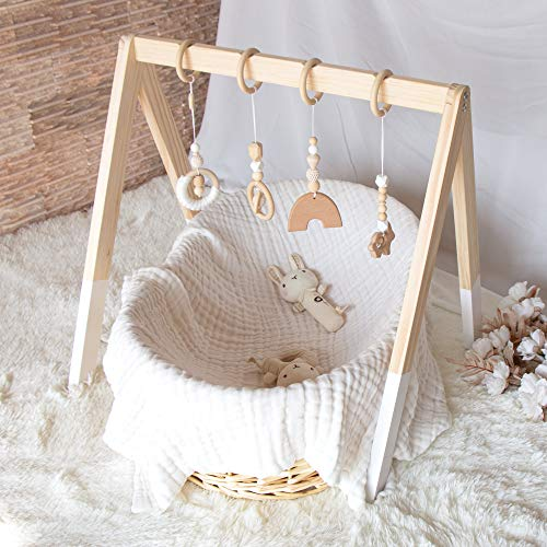 Wooden Baby Gym, OUBLANC Baby Play Gym with 4 Wooden Baby Hanging Toys for Play & Learn, Baby Activity Gym Frame Hanging Bar Toddler Gym Newborn Gift for Baby Girl and Boy