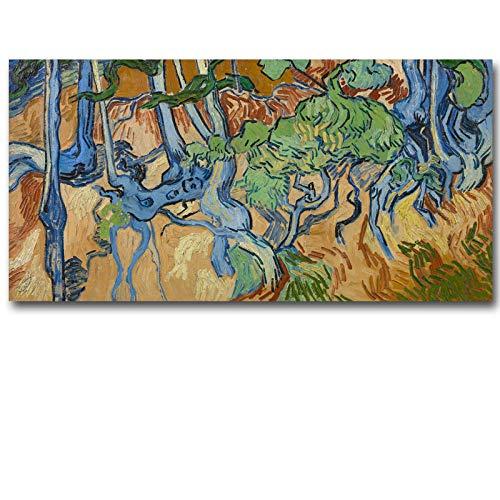 YB Big Size wortels en boomstammen Van Gogh bedrukt reputatie olieverfschilderij op canvas muurkunst schilderij voor de woonkamer 24 x 48 inch gedrukt zonder lijst