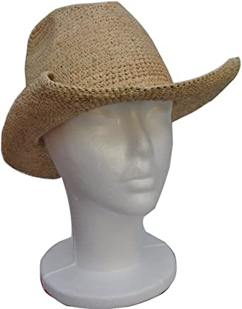 73d79105188 Goal 2020 Womens Crocheted Raffia Cowboy Small Size Hat with Natural Straw  Color. Packable and