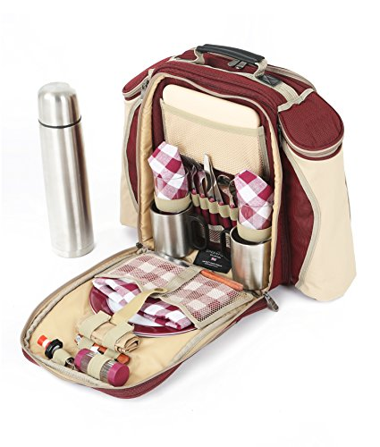The Greenfield Collection BPS2RDH Super Deluxe Zwei Personen Picknick Rucksack, weinrot
