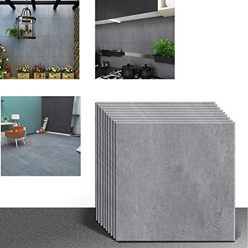 VEELIKE Pegatinas para azulejos grises pegadas en el suelo, baldosas de vinilo autoadhesivas, para la cocina, el dormitorio, la sala de estar, 30 cm x 30 cm, 12 unidades