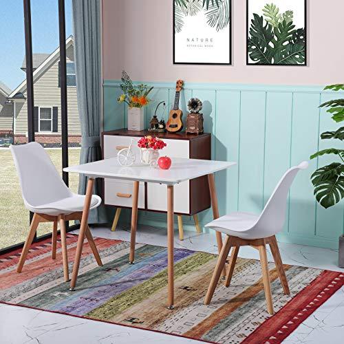 H.J WeDoo Esstisch mit 2 Stühlen Quadratisch Tisch Retro Design Küchentisch und Moderner Stuhl für Esszimmer Küche Wohnzimmer, Weiß