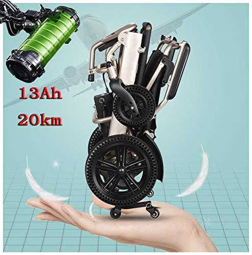 LAYG Elektrorollstuhl Faltbar Leichte Roller,mit Aufbewahrungskorb,Tragbare Ältere Behinderte Hilfe Auto,Joystick Lithiumbatterie Elektro Mobilitätshilfe Elektrischer Rollstuhl,Golden / 13Ah