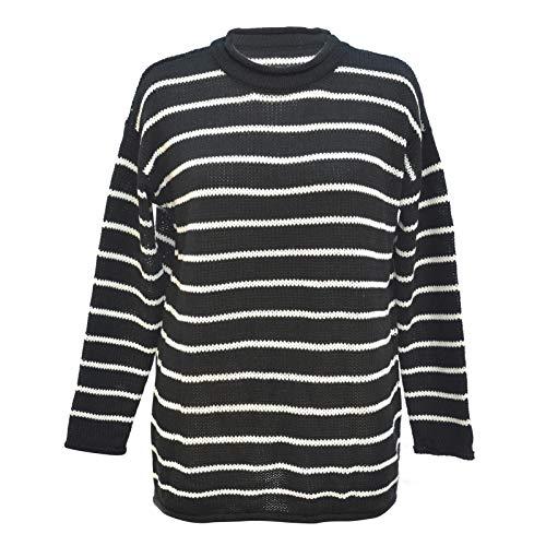 Jersey de punto para mujer, estilo informal, cuello redondo, informal, para otoño e invierno, para mujer