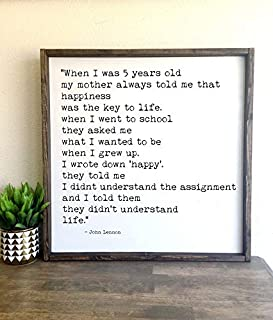 CELYCASY When I was Five Years Old | John Lennon | Framed Wood Sign