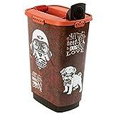 Rotho Cody, Recipiente de comida para mascotas de 50 litros con tapa y tolva para una dosificación práctica, Plástico PP sin BPA, marrón, naranja, 50l 39.7 x 29.6 x 58.5 cm