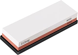 E-Gtong Premium 2-IN-1 Knife Sharpening Stone, Grit 3000/8000 Waterstone Kit Wet Stone with Anti-slip Rubber Base Honing Holder Made with White Corundum for Kitchen, Knife