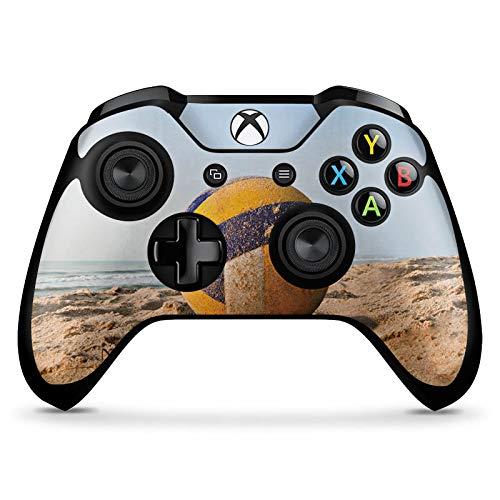 DeinDesign Skin kompatibel mit Microsoft Xbox One X Controller Folie Sticker Volleyball Sand Hobby