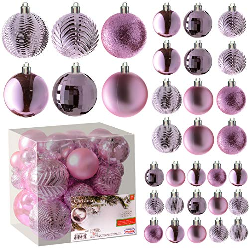 Pink Christmas Ball Ornaments for Christams Decorations - 36 Pieces Xmas Tree Shatterproof Ornaments with Hanging Loop for Holiday and Party Deocation (Combo of 6 Styles in 3 Sizes)