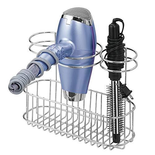 mDesign Soporte de pared para secador de pelo – Práctico estante de baño con 3 divisiones para utensilios de peluquería – Organizador de baño para secador, plancha o rizador – plateado