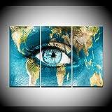 XIANRENGE Leinwanddrucke,3 Panel World Peace Augen Poster