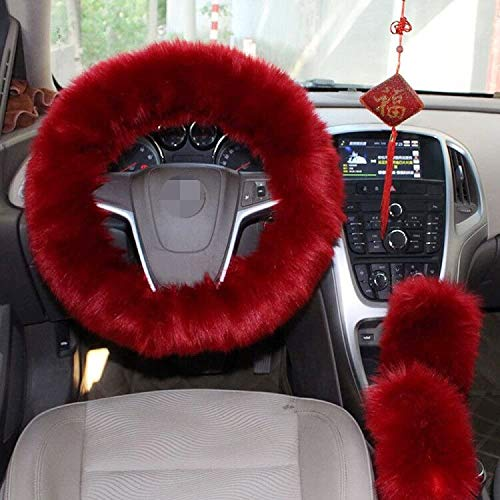 5. Red Fuzzy Steering Wheel Cover