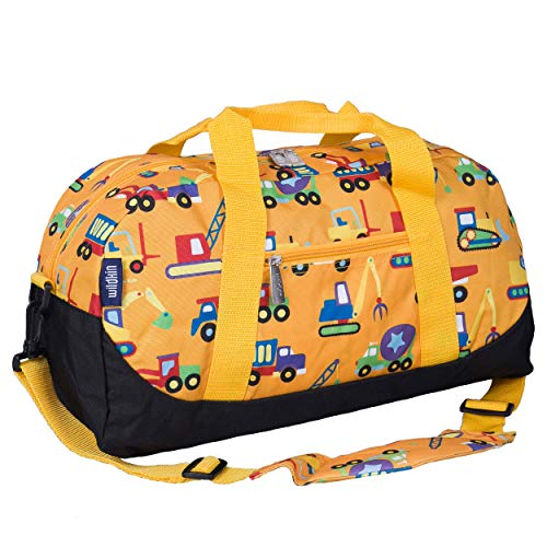 Wildkin Kids Overnighter Duffel Bag for Boys and Girls, Carry-On Size and Perfect for After-School Practice or Weekend Overnight Travel, Measures 18x9x9 Inches, BPA-free,Olive Kids(Under Construction)