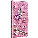 Saceebe Compatibile con Galaxy A51 Custodia Pelle Portafoglio Glitter Cover a libro Flip Case [Custodia in pelle glitter diamante farfalla] Anteriore e posteriore Cover,rosa