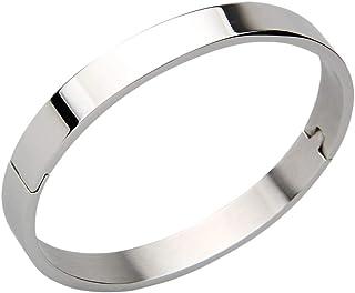 B Baosity Bracciale Rigido in Acciaio Inossidabile Accessorio per Uomini Gioielli Moda per Matrimonio Fidanzamento - Argento