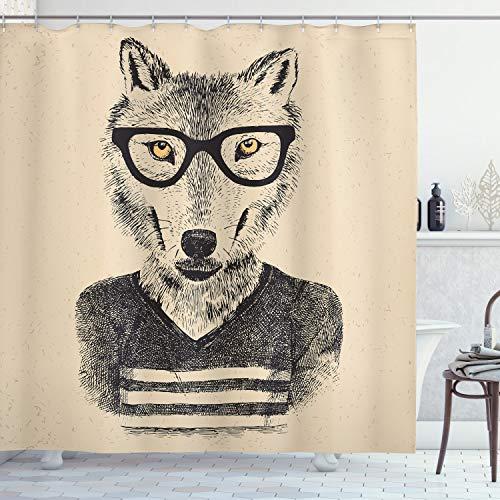 ABAKUHAUS Hipster Duschvorhang, Wolf Nerd Brillen Gestreifte Pullover Karikatur, Pflegeleichter Stoff mit 12 Haken Wasserdicht Farbfest Bakterie Resistent, 175 x 200 cm, Champagner Dunkelasche