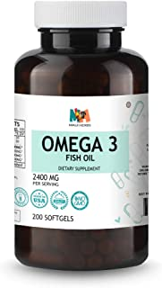 Omega 3 Fish Oil 200 Softgels Capsules, 2300mg, High EPA & DHA, Burpless, Cardiovascular Support, Joint, Cognitive, Skin H...