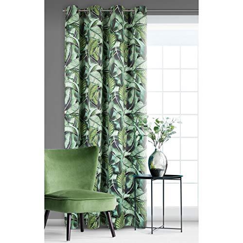 Eurofirany - Tenda vellutata con Occhielli, Motivo Foglie di Banana, 200 g/m2, 140 x 250 cm, Colore: Verde Leggermente permeabile in Soggiorno, Camera da Letto Botanical-Trend