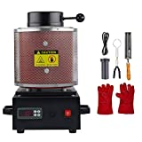 CO-Z 1750W Electric Gold Melting Furnace with Mesh Guard, 2100F Digital Metal Smelting Machine, Metal Casting Kit with Gold Silver Copper Bronze Lead Melting Pot Crucible and Tongs, 2kg 4.4lb Cap