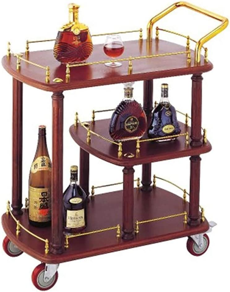 YLCS Kitchen Storage Trolley 3-Tier gift Solid Rack with Wood Wh Max 67% OFF Wine