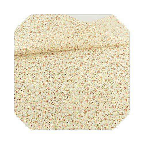 Perfekter Farbstoff | 100% hellgelber Baumwollstoff bedruckte Mini-Blumen und Blatt-DesignPatchwork Home Fat Quarter Dolls DIY-30x30-