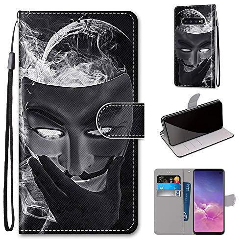 Miagon Flip PU Leder Schutzhülle für Samsung Galaxy S10e,Bunt Muster Hülle Brieftasche Case Cover Ständer mit Kartenfächer Trageschlaufe,Maske