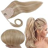 RUNATURE Remy Hair Extensión de cola de caballo, 12 Inches 70g Per Set (Golden Brown mezclado con Golden Blonde) Invisible Pony Tails Hair Piece Clip Human Hair Extensions