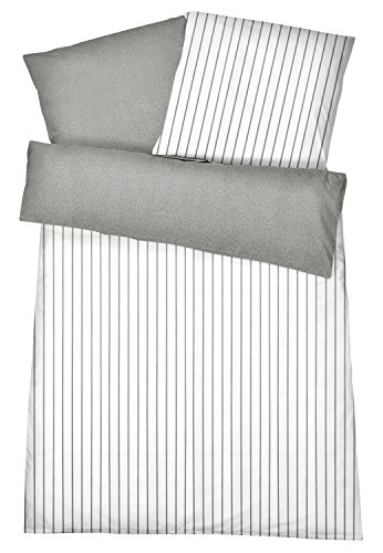 Elegante Mako-Satin Wendebettwäsche in exklusiver Hotelqualität 135 x 200 cm Grau Melange mit Streifen aus 100 % Baumwolle für besten Schlafkomfort – Hotel-Bettwäsche Set mit Kopfkissen-Bezug