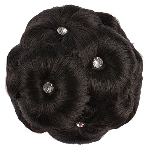 WeKen Women's Hair Bun Extensions Short Curly 9PCS Flowers with Artificial Diamond Synthetic Black Hair with White Diamond