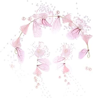 CEFULTY Butterfly Gypsophila Hair Earrings Set Bridal Wedding Accessories (Color : Pink)