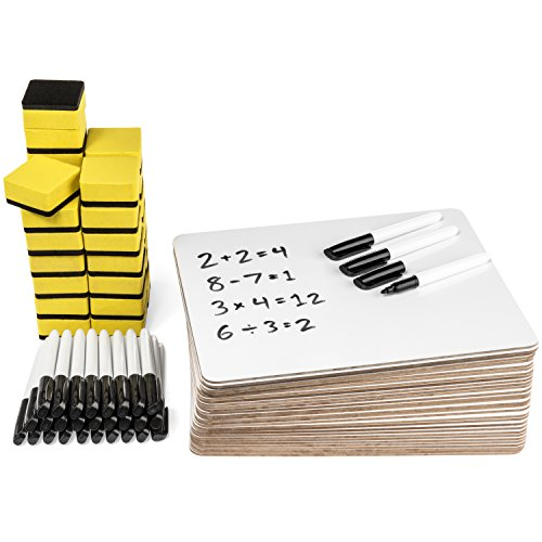 Blue Summit Supplies 30 Pack Dry Erase Lapboard Classroom Set, Includes 30 Whiteboards 9 x 12 Inch, 30 Markers, 30 Erasers, Ideal for Teachers, Students, Sunday School, Group Participation