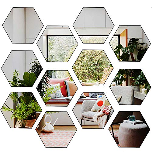 HJAA Removable Acrylic Mirror Setting Wall Sticker Decals DIY Flexible Non Glass Mirror Plastic Mirror Wall Stickers for Home Living Room Bedroom Decor(12 PCS)