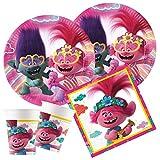 Procos - Juego de Fiesta Infantil DreamWorks Trolls 2, World Tour, Platos, Vasos, servilletas, decoración de Mesa, cumpleaños Infantiles, barbacoas, Fiestas temáticas.