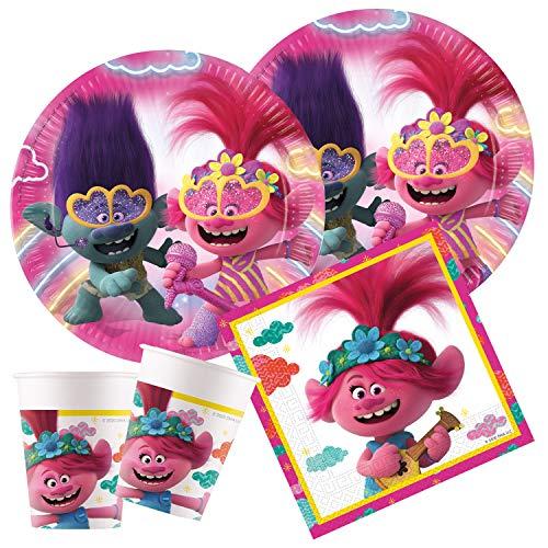 Procos - Kinderpartyset DreamWorks Trolls 2, World Tour, Teller, Becher, Servietten, Tischdeko, Kindergeburtstag, Grillparty, Motto Party