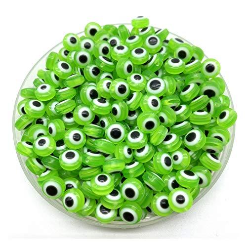 Cuentas espaciadoras 200 unids / lote 8 mm Forma Oval Spacer Beads Perlas de ojos malvados Perlas de resina Spacer Beads para joyería Hacer Pulsera Collar Charms Hecho a mano ( Color : Light Green )