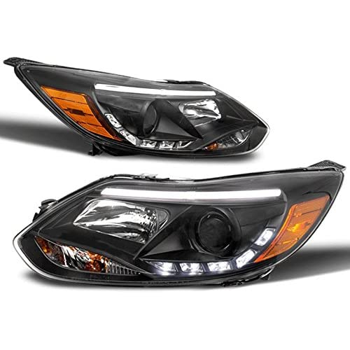 ZMAUTOPARTS Ford Focus S SE SEl St DRL LED Projector Headlight Lamp Black New Pair