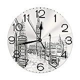 vnsukdlfg Round Wall Clocks Home Decorative,Modern,London City with Big Ben Monument Scene in Sketch Style British Famous Town Artwork,Beige Black,Diameter 9.8'(25cm),Christmas Gifts