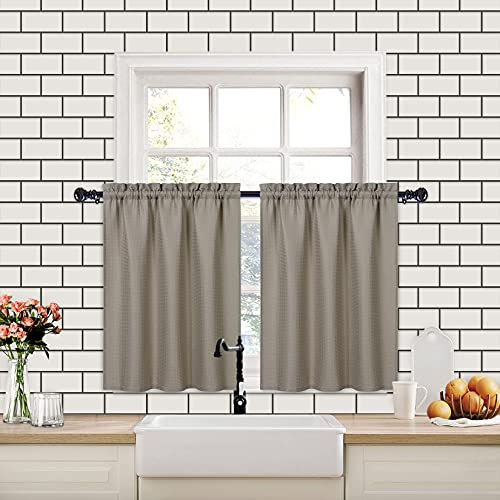CAROMIO tende corte per finestre piccole, tenda per finestra piccola Waffle per cucina, tende corte con tasca ad asta resistente all'acqua per il bagno, marrone, 75x90cm, 2 pezzi
