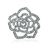 Bling Jewelry Große Rose Blume Form Öffnen Pave Kristall Broschen & Anstecknadeln Für Damen Silber Ton Messing Rhodiniert