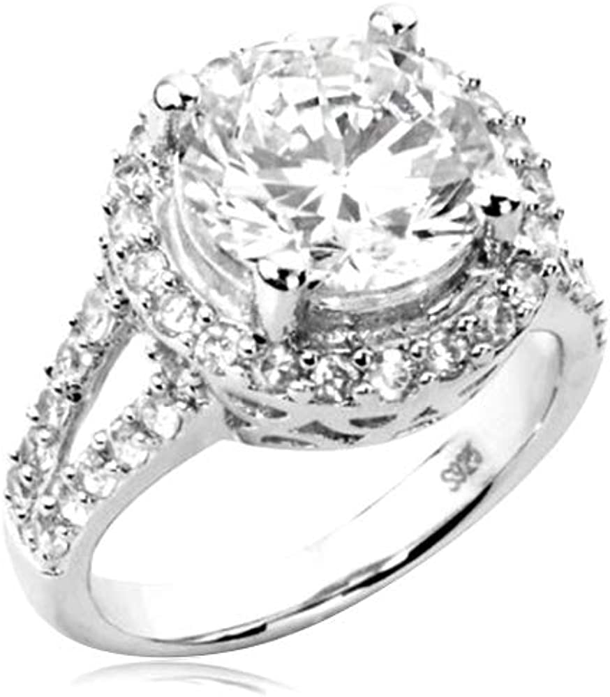 Cavalier Jewelers Sterling Max 88% OFF Silver Ring R CZ depot Cubic Zirconia Round
