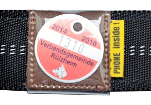 josi.li Halsbandtasche für Hundemarken bis 28x28mm, Leder braun, für Halsbandbreite bis 30mm