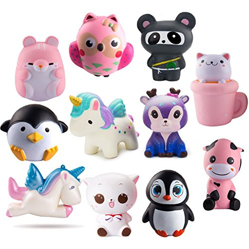 WATINC 3pcs Jumbo Animal Squeeze Toys, Slow Rising Animal Squeeze Toys for Lovely Kids Party Favors, Birthday Gifts, Kawaii Cream Scented Stress Relief Kids Toys
