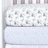 Product Image of the TILLYOU 2-Pack Printed Fitted Crib Sheet Set for Boys or Girls, 100% Natural...
