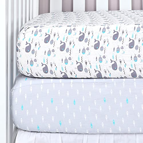 """TILLYOU 2-Pack Printed Fitted Crib Sheet Set for Boys or Girls, 100% Natural Cotton Toddler Bed Mattress Sheets, Gentle to Baby's Sensitive Skin, Standard 28""""x52""""8"""", Sea World/Ocean Fish"""