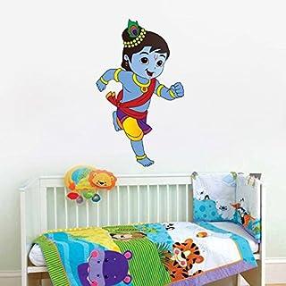 Sticker Studio Run Krishna Wall Stickers for Living Room, Bedroom, Office (Vinyl, Standard, Multicolour)