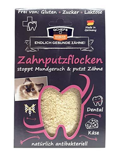 Qchefs Zahnputzflocken| Katzen Zahnpflege- Snack| Zahnsteinentferner| Zahnpulver gegen Mundgeruch & Zahnfleischentzündung| Leckerlis| Hüttenkäse natürlich antibakteriell jodfrei – auch Wählerische