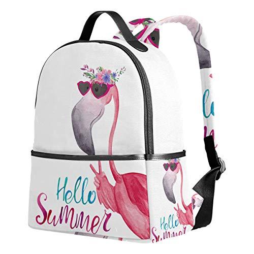 Mochila escolar primaria con diseño de flamencos y corona de flores para estudiantes, mochila escolar para niñas y niños